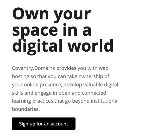 Screenshot of sign up button
