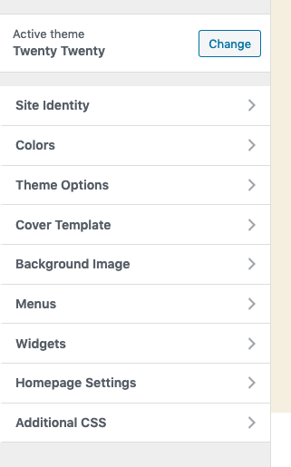 The WordPress customiser menu